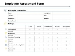 Employee Assessment Form Knowledge Work Quality Ppt Powerpoint Presentation Ideas Skills