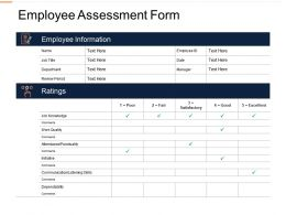 Employee Assessment Form Ppt Powerpoint Presentation Icon