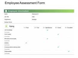 Employee Assessment Form Ppt Powerpoint Presentation Ideas Microsoft