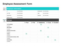 Employee Assessment Form Ppt Powerpoint Presentation Inspiration