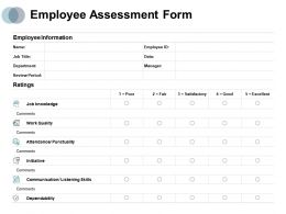 Employee Assessment Form Work Quality Initiative Ppt Powerpoint Presentation Topics