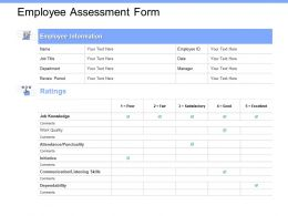 Employee Assessment Form Work Quality Ppt Powerpoint Presentation Icon Example