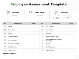 Employee Assessment Internal Management Assessments Ppt Powerpoint Presentation File Vector
