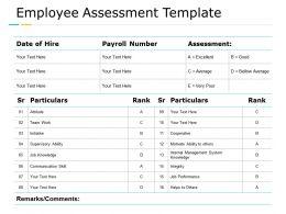 Employee Assessment Template Communication Teamwork Ppt Powerpoint Presentation Summary Visuals