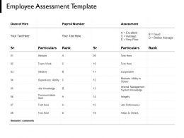 Employee Assessment Template Internal Management Teamwork Ppt Powerpoint Presentation Portfolio Summary