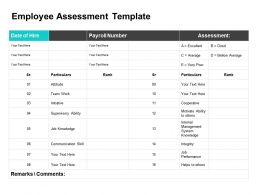 Employee Assessment Template Ppt Powerpoint Presentation Summary