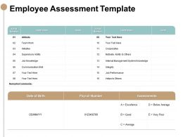 Employee Assessment Template Team Work Ppt Powerpoint Presentation Slides