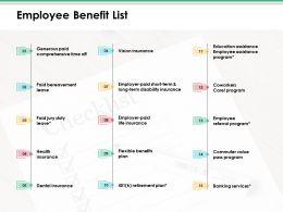 Employee Benefit List Ppt Infographic Template Portfolio