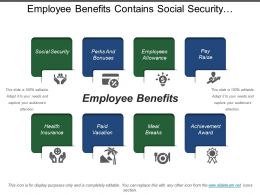 Employee Benefits Contains Social Security Allowance Paid Vacation Health Insurance