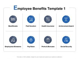 Employee Benefits Template Achievement Award Perks And Bonuses Ppt Powerpoint Presentation Styles Ideas