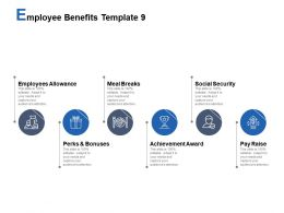 Employee Benefits Template Meal Breaks Social Security Ppt Powerpoint Presentation Styles Templates