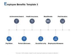 Employee Benefits Template Paid Vacation Pay Raise Ppt Powerpoint Presentation Styles Portrait