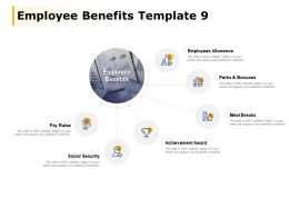 Employee Benefits Template Pay Raise Perks And Bonuses Ppt Powerpoint Presentation File Topics