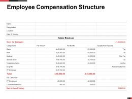 Employee Compensation Structure Salary Ppt Powerpoint Presentation Show