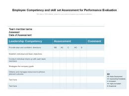 Employee Competency And Skill Set Assessment For Performance Evaluation