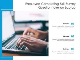 Employee Completing Skill Survey Questionnaire On Laptop