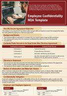 Employee Confidentiality NDA Template Presentation Report Infographic PPT PDF Document
