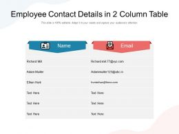 Employee Contact Details In 2 Column Table