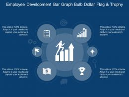 Employee Development Bar Graph Bulb Dollar Flag And Trophy