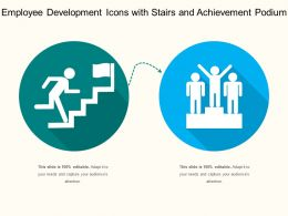 Employee Development Icons With Stairs And Achievement Podium