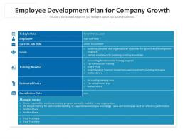 Employee Development Plan For Company Growth