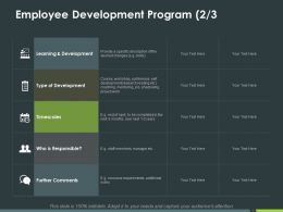 Employee Development Program Timescales Ppt Powerpoint Presentation Inspiration Deck