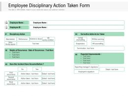 Employee Disciplinary Action Taken Form