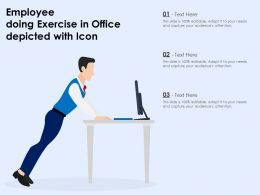 Employee Doing Exercise In Office Depicted With Icon