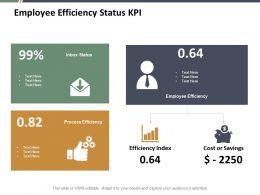 Employee Efficiency Status Kpi Ppt Summary Infographics