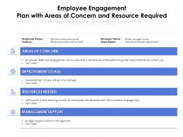 Employee Engagement Plan With Areas Of Concern And Resource Required