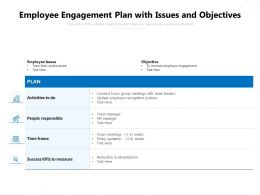 Employee Engagement Plan With Issues And Objectives