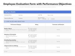 Employee Evaluation Form With Performance Objectives