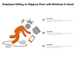 Employee Falling On Slippery Floor With Briefcase In Hand