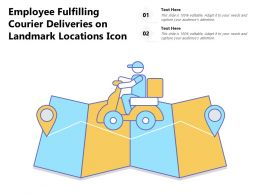 Employee Fulfilling Courier Deliveries On Landmark Locations Icon