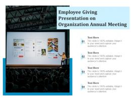 Employee Giving Presentation On Organization Annual Meeting