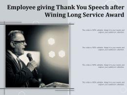 Employee Giving Thank You Speech After Wining Long Service Award