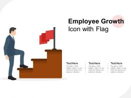 Employee Growth Icon With Flag