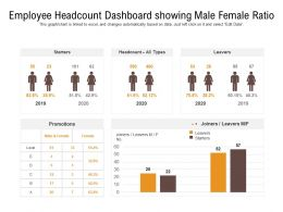 Employee Headcount Dashboard Showing Male Female Ratio