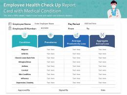 Employee Health Check Up Report Card With Medical Condition