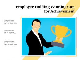 Employee Holding Winning Cup For Achievement