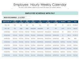 Employee Hourly Weekly Calendar