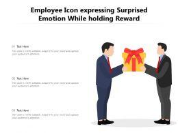 Employee Icon Expressing Surprised Emotion While Holding Reward