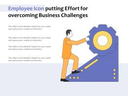 Employee Icon Putting Effort For Overcoming Business Challenges