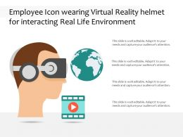 Employee Icon Wearing Virtual Reality Helmet For Interacting Real Life Environment
