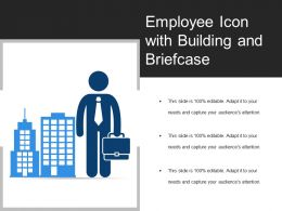 Employee Icon With Building And Briefcase