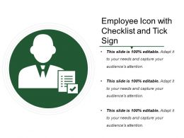 Employee Icon With Checklist And Tick Sign