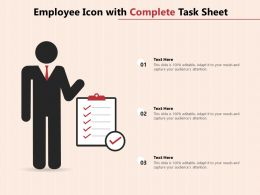 Employee Icon With Complete Task Sheet