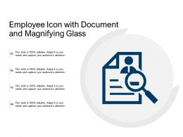 Employee Icon With Document And Magnifying Glass