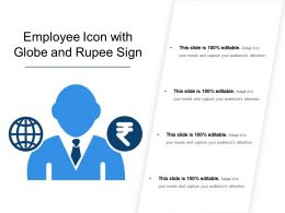 Employee Icon With Globe And Rupee Sign