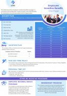 Employee Incentive Benefits One Pager Presentation Report Infographic PPT PDF Document